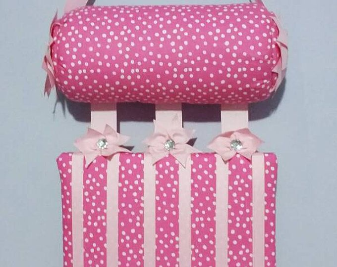 Headband Holder or head band holder hairbow organizer board soft pink with white polkadots Handmade combination holder