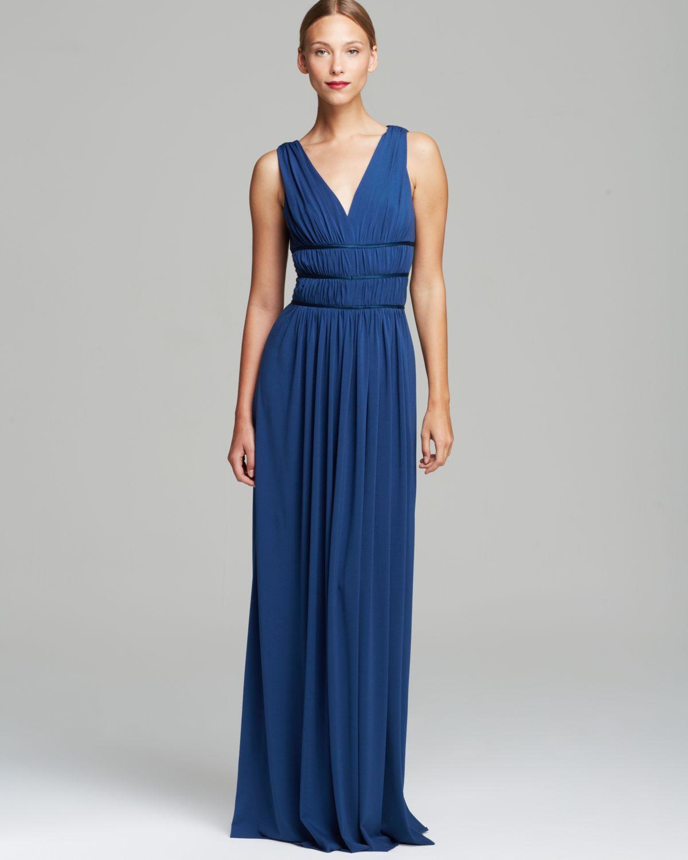 6c280299e3e Vera wang Sleeveless Grecian Double V-Neck Matte Jersey Maxi Dress in Blue  (Pacific Blue)