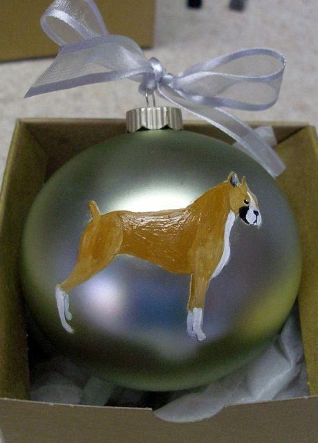 Boxer Dog Hand Painted Christmas Ornament - Can Be Personalized with Name