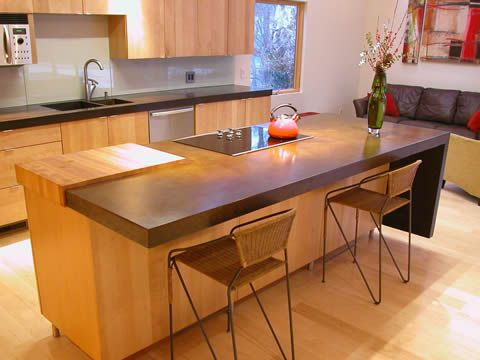 Concrete Island With Butcher Block Insert Countertops Diy