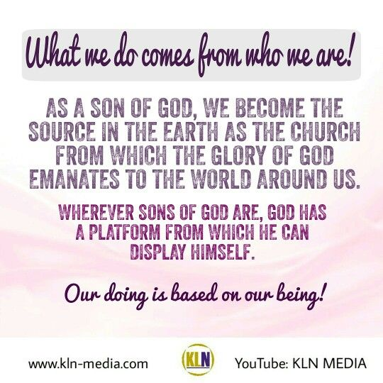 Kingdom Living Now  Join the conversation with us on youtube! Do you want to know more about the Kingdom of God, and the benefits of living in the kingdom? Visit our website: www.kln-media.com  Romans 8:14 (NKJV) For as many as are led by the Spirit of God, these are sons of God.  When we submit to the Father as Sons of God, we will put Him on display. We will do and be what He wants when  what we do, is coming from who we are. This will happen, if we will let Him and for us to let Him, it…