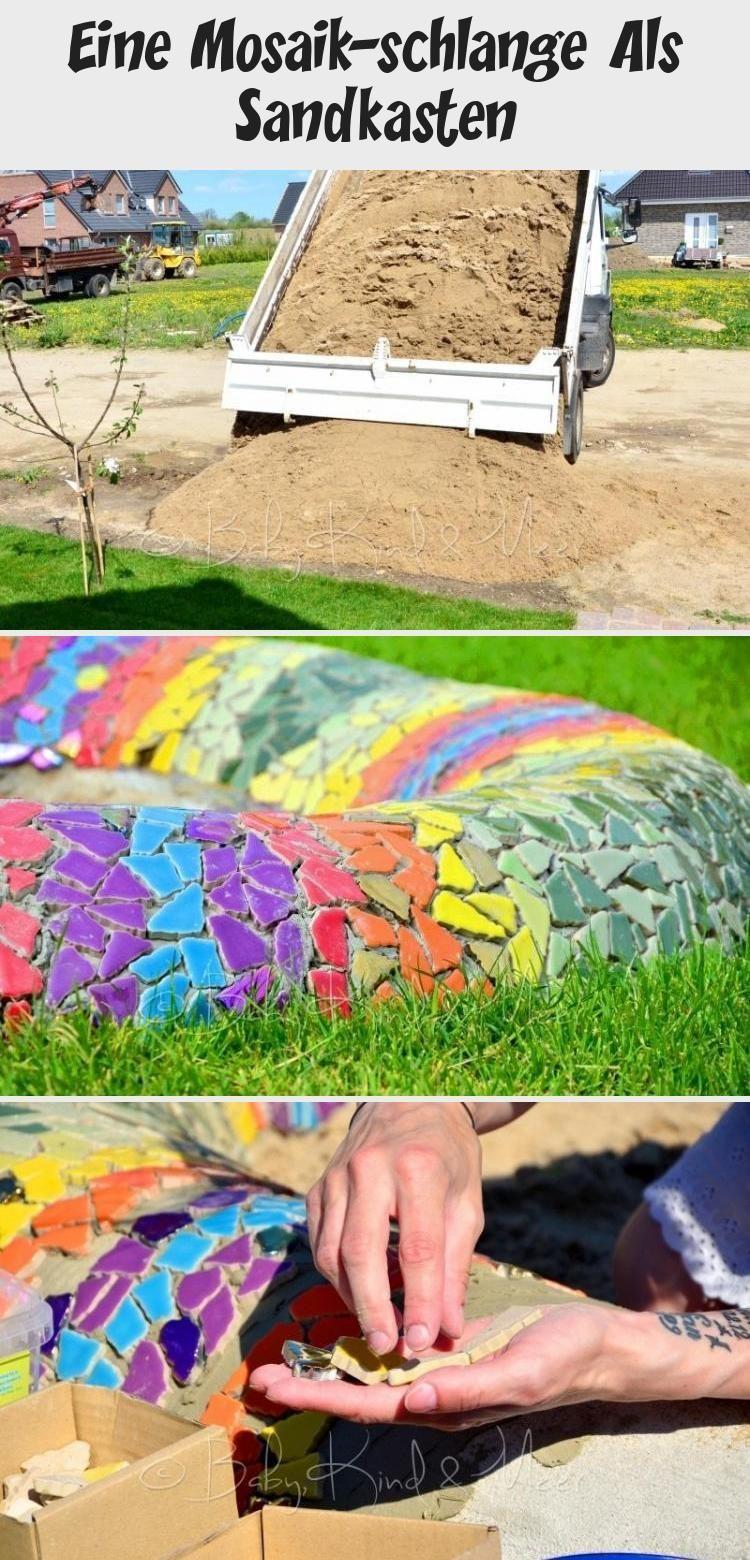EINE MOSAIK-SCHLANGE ALS SANDKASTEN - Hausbau & Garten, DIY, Inspirationen - Baby, Kind und Meer #gartenkunstSculpture #gartenkunstBeton #gartenkunstMetall #gartenkunstSelberMachen #gartenkunstKeramik #Sandkasten mosaik Eine Mosaik-schlange Als Sandkasten