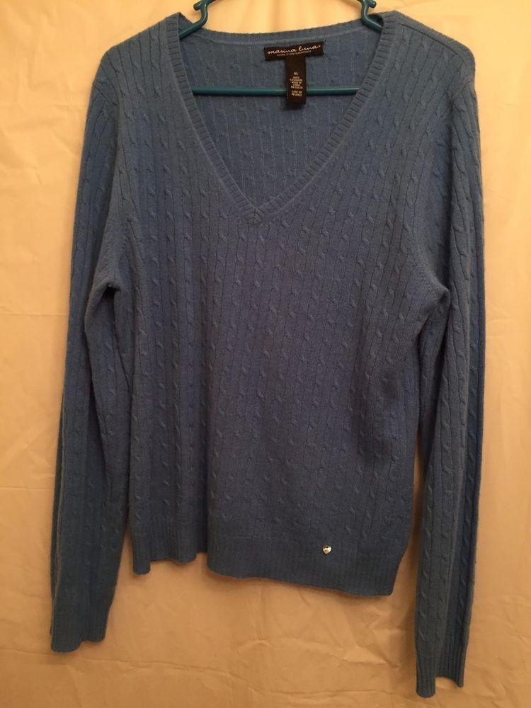 Marina Luna Cashmere Sweater Sz XL Cable Knit V-Neck Long Sleeve Blue   MarinaLuna  VNeck 5ec9ebca1