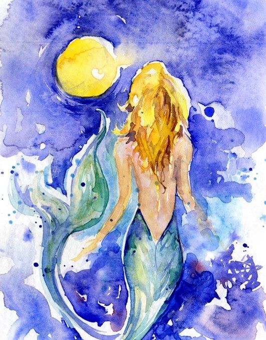 Moon Wish Original Mermaid Watercolor Painting By Kathy Morton
