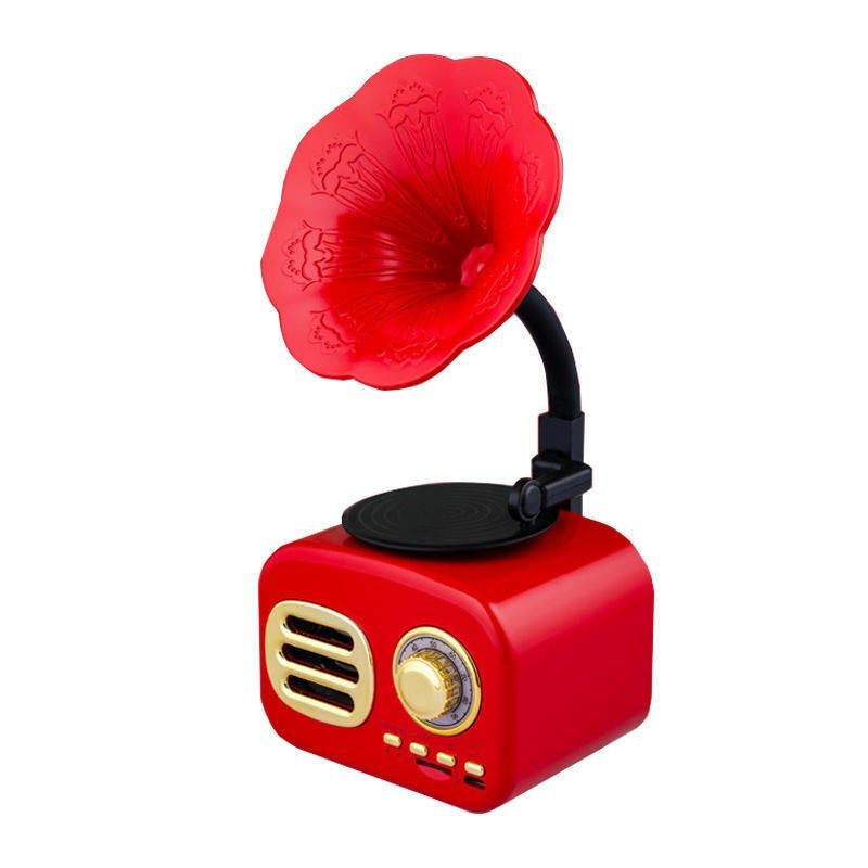 Retro Sound Phonograph Record Player Bluetooth Speaker Radio Music Mp3 Player Red Color In 2021 Phonograph Record Player Mp3 Music Player Record Player