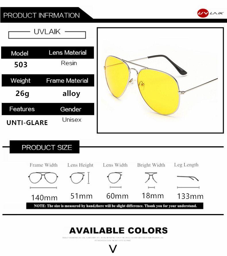 0b32cac3bf0 UVLAIK Aviation Night Vision Polarized Sunglasses Men Women Goggles Glasses  UV400 Sun Glasses Driver Night Driving