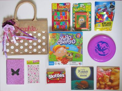 Embellished tote bag filled with goodies for a little girl.