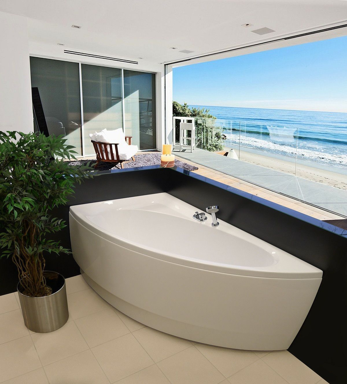 Aquatica Idea Right: Space-Saving Asymmetrical Corner Soaking Tub ...