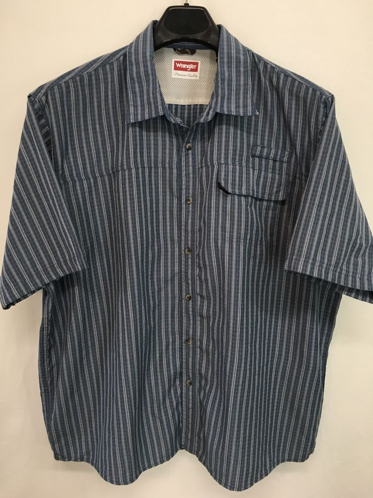 5710226a23 Mens 2xl xxl wrangler western shirt blue outdoor fishing short-sleeve looks  new