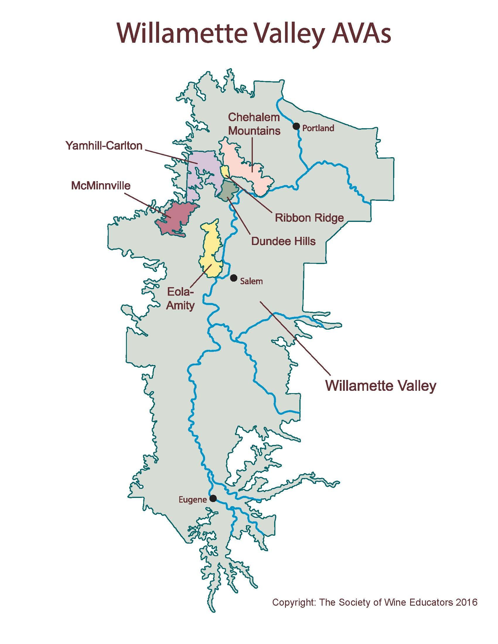 New Map Of The Willamette Valley Wine Wit And Wisdom In