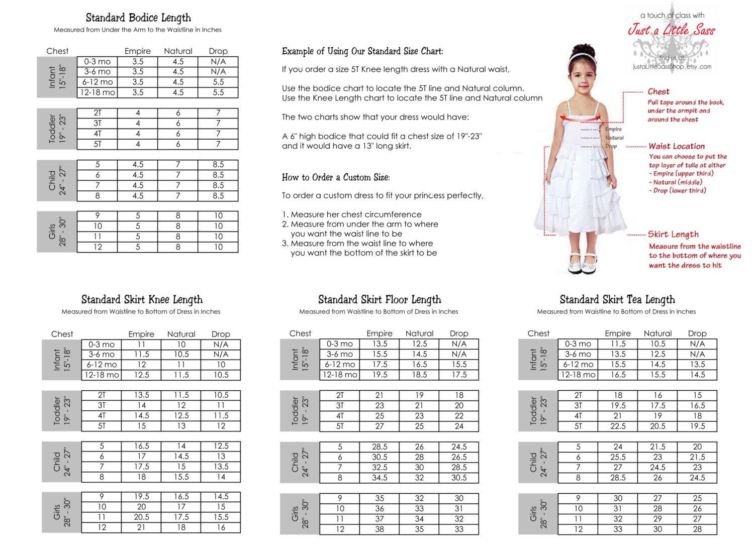Tutu Dress Size Chart By Justalittlesassshop On Etsy  Moda