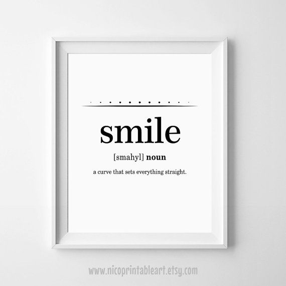 Funny Quote Print, Smile Definition, Funny Typography, Typography Printable, Dictionary Art Print by NicoPrintableArt