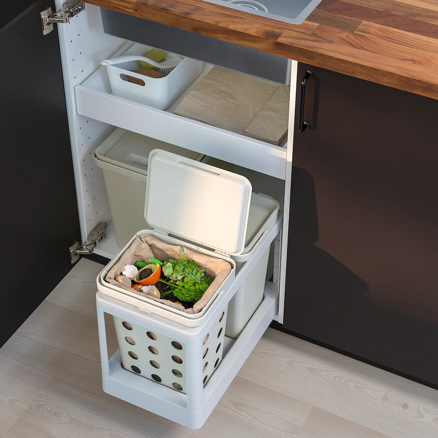 Hallbar Pull Out Frame For Recycling Light Gray Ikea In 2020 Kitchen Bin Ikea Kitchen Cupboard Bin