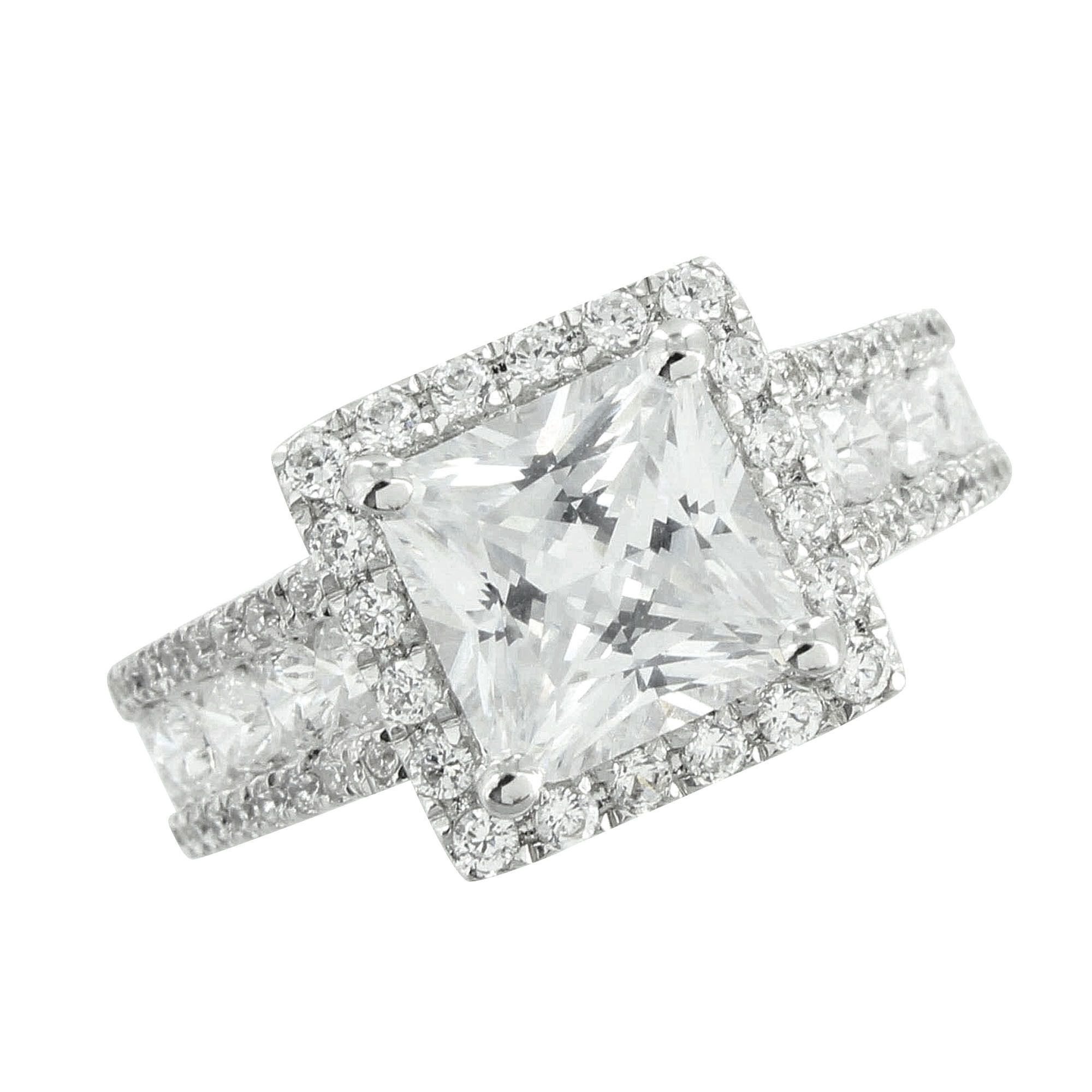 Princess cut solitaire ring wedding engagement simulated diamonds