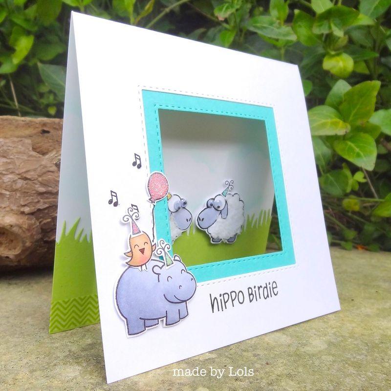 """Punny card! """"Hippo Birdy Two Ewes"""" :) #lawnfawn Lorraine's Loft"""
