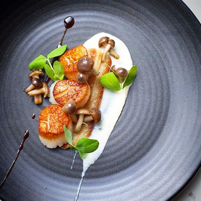 Seared Atlantic Scallops Twice Cooked Pork Belly Can Be Substituted With Re