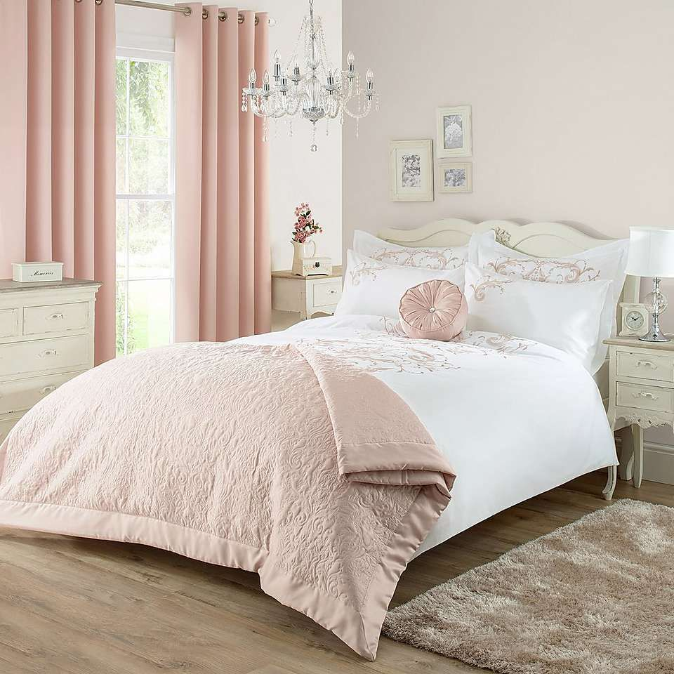 Best Claire Blush Bed Linen Collection Dunelm Bed Spreads 400 x 300