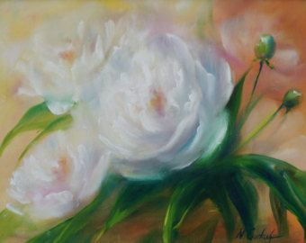 White peony small flower painting ORIGINAL, oil on canvas