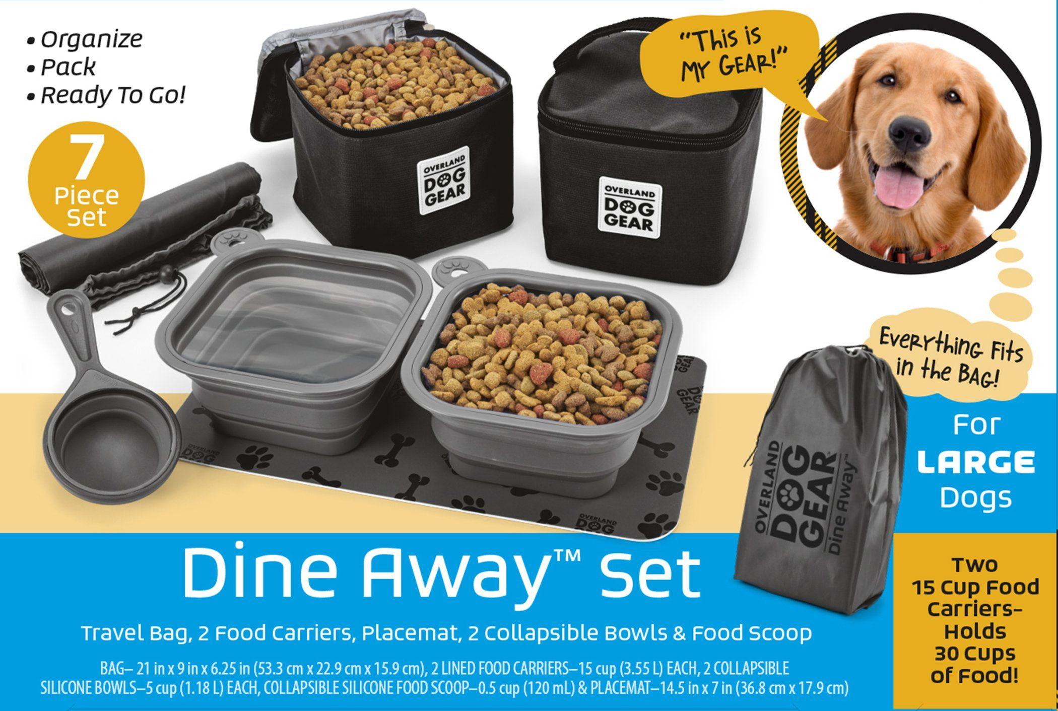 Dog Travel Food Set For Medium Large Dogs Black 7 Pieces Including