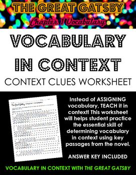The Great Gatsby Chapter 1 Vocabulary in Context Practice Worksheet