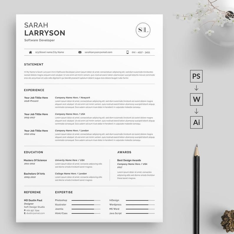 Professional Resume Template Resume Template Cv Template Etsy Resume Template Word Resume Template Professional Resume Template