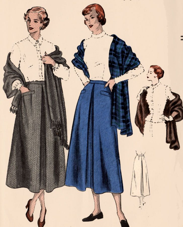 Vintgae 1940s Skirt and Stole Sewing Pattern Vogue 6552 Original 50s ...