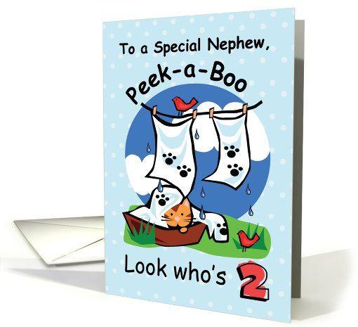Nephew 2nd Birthday Peek A Boo Kitten On Blue Card