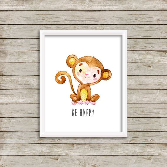 Monkey Be Hy Printable Nursery Art Animals Decor Wall