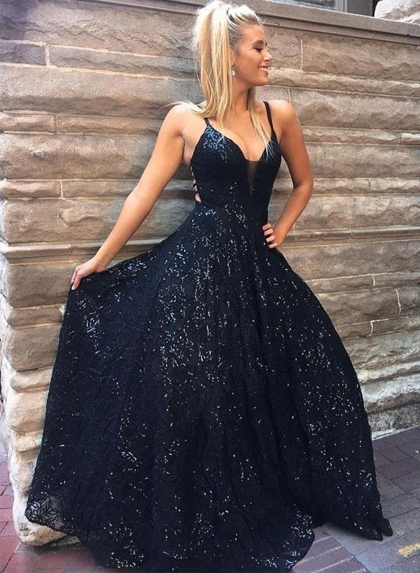 Stylish v neck sequins long prom dress, evening dress