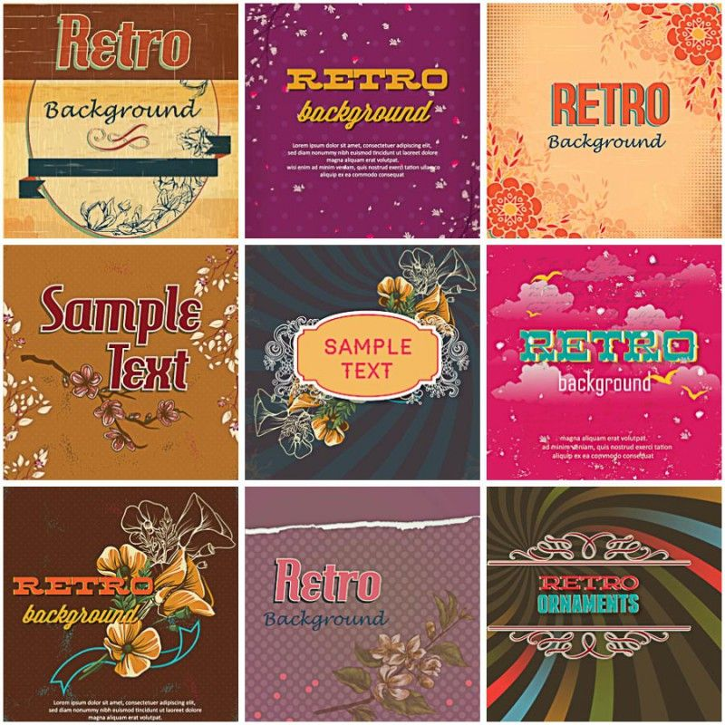 Set of 9 vectors with lovely retro floral backgrounds and frames