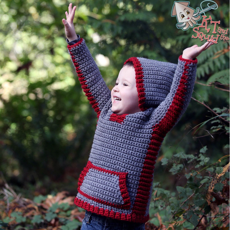 Crochet hoodie pattern, crochet childrens sweater, boys hoodie, girls hoodie, hooded vest for children, crochet, easy pattern, zipper or #children'ssweaters
