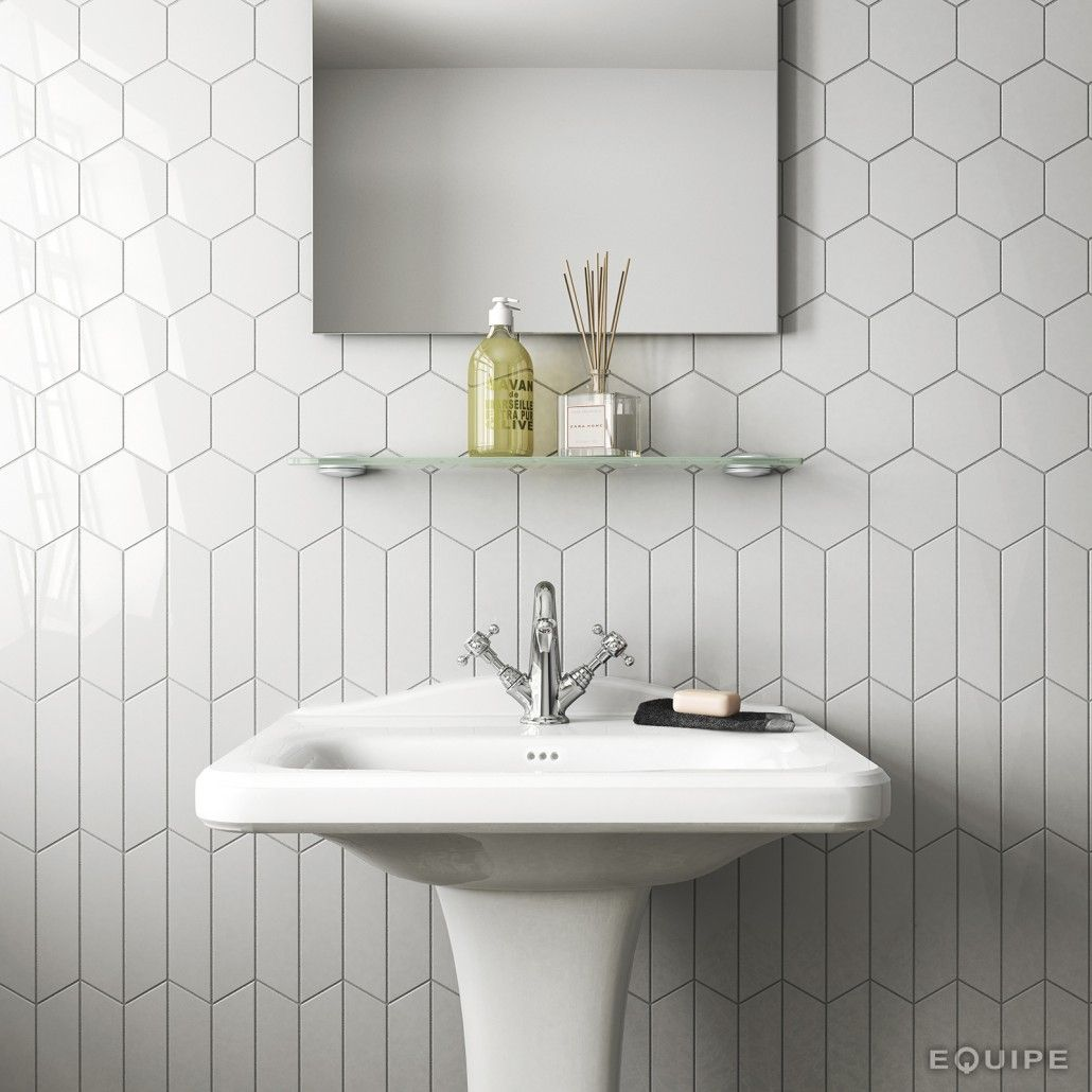 bathroom wall tilehexagon tilelight graypedestal sink