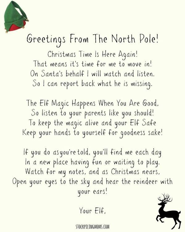 Elf On A Shelf Welcome Letter (Free Printable) to use when your - holiday letter