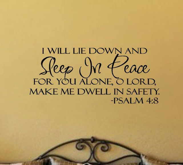 Sleep In Peace Bible Verse Safety PSALM Art Vnyl Wall Sticker Decal ...