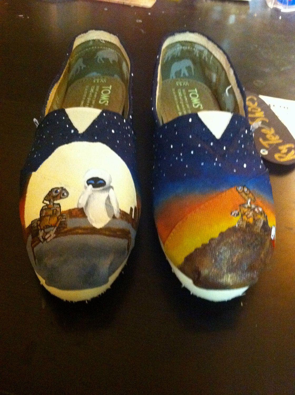 Custom Hand Painted Shoes Wall E And Eve Painted Shoes Hand Painted Shoes Toms Shoes Outlet