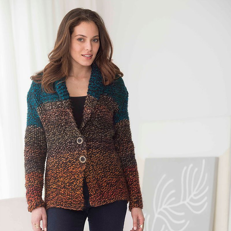 Getting us in the mood for chilly fall days! Lion Brand Country Riding Jacket #knit #pattern #acmoore