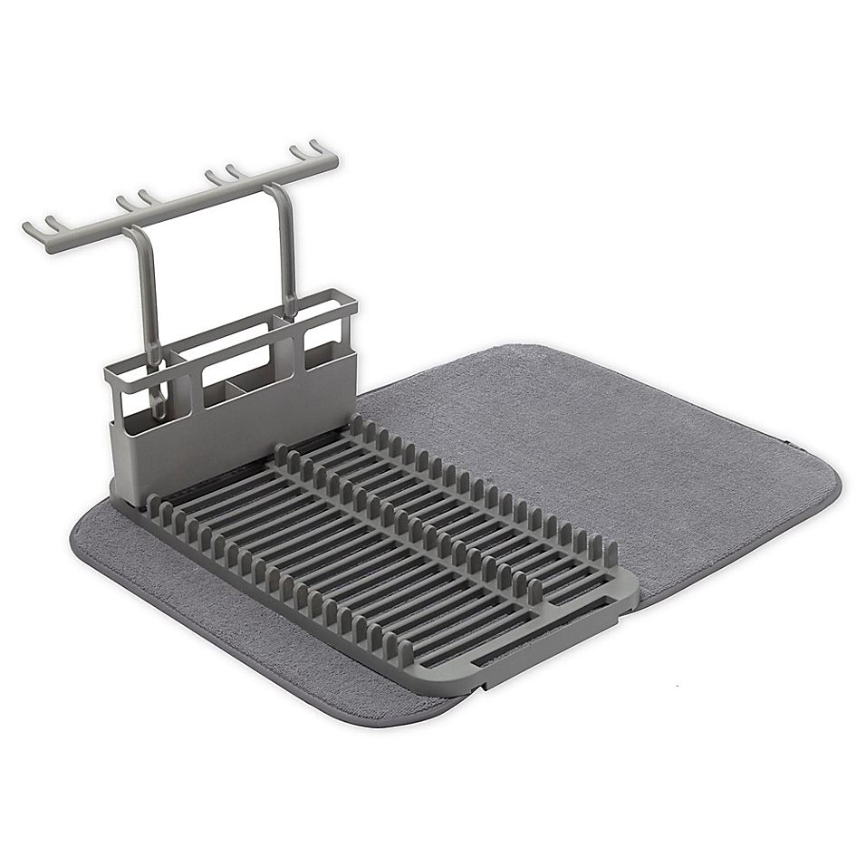 Umbra U Dry Dish Rack With Stemware Holder And Mat In Charcoal #dishracks