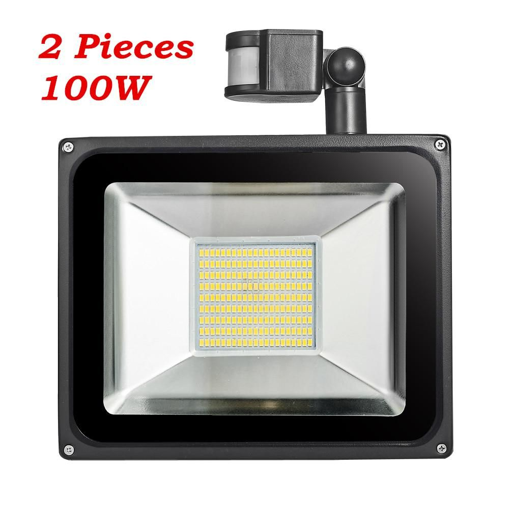 2 Pcs 100w Pir Infrared Motion Sensor Flood Light 220v 240v 11000lm Pir Infrared Sensor Floodlight Led Lamp For Outdoor Lighting Outdoor Lighting Flood Lights Sensor Lights Outdoor
