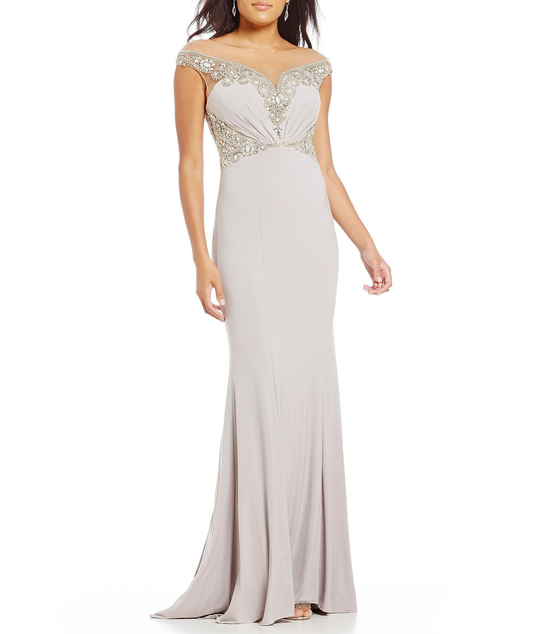 67714cd6a3f Terani Couture Illusion OffTheShoulder Beaded Gown  Dillards ...