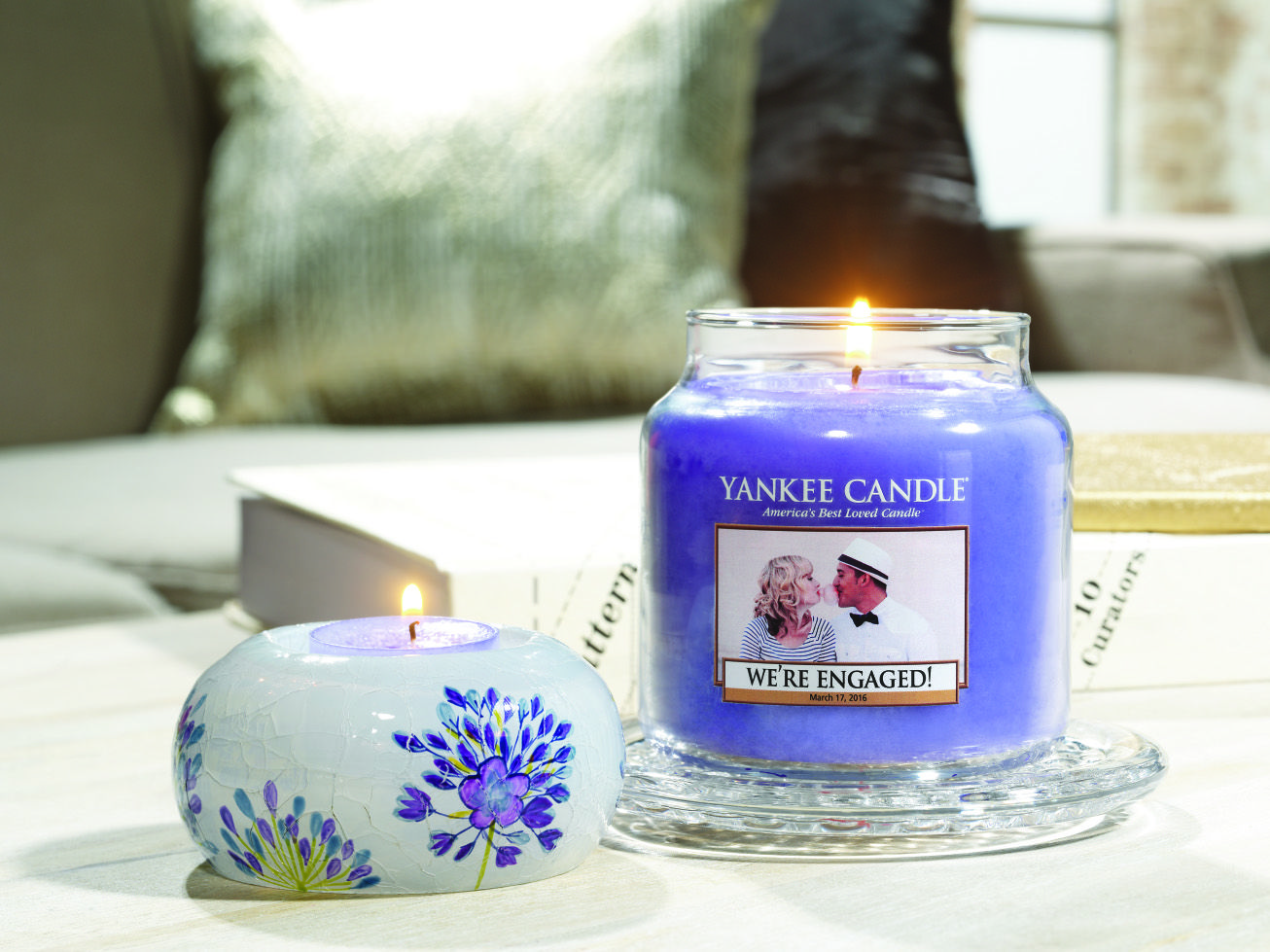 Personalize a candle to share your special announcement