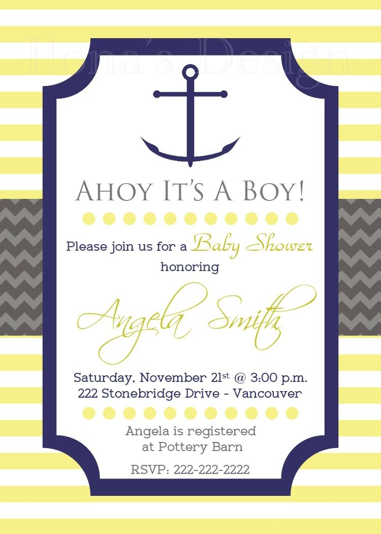 Yellow Nautical Baby Shower Invitation - Boy Baby Shower - Anchor ...