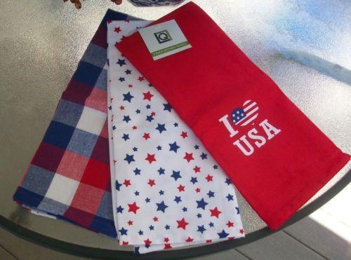 3 Kitchen Towels Nwt Fourth Of July Display Stars Stripes America