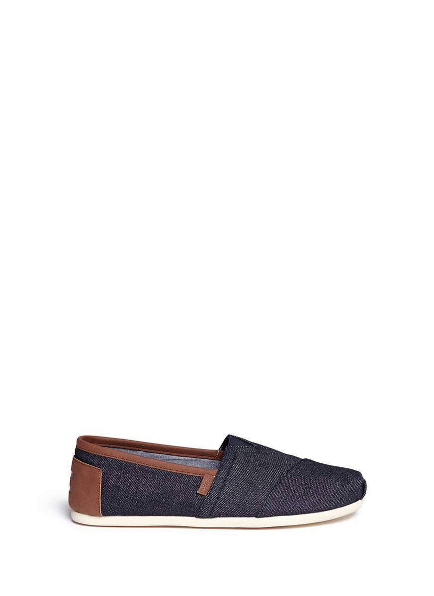 b729f9deedc TOMS  Classic  Leather Trim Denim Slip-Ons.  toms  shoes  slip-ons ...