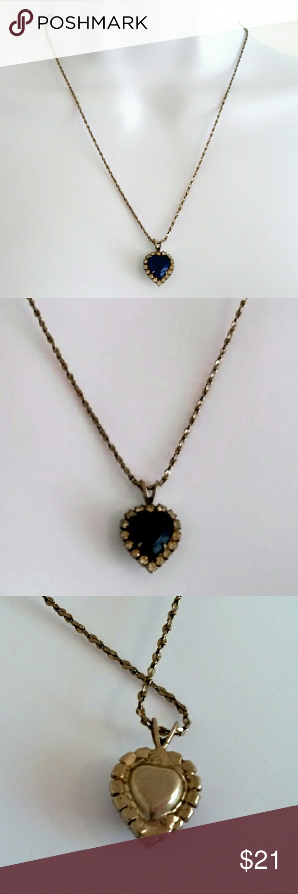 """Vintage 60s Blue Diamond Heart Costume Necklace Beautiful, elegant vintage costume jewelry from the 60s. This necklace features a dainty antique chain with a spring ring closure. Pendant is a deep, bright blue shade in a heart shape, with a halo of white clear stones. Has held up wonderfully and is sturdy and well-made. Perfectly romantic and classic - adds a touch of vintage to any outfit.  Chain length - 18"""" Pendant width - .5""""  Color may vary slightly based on screen display.  #vintage…"""