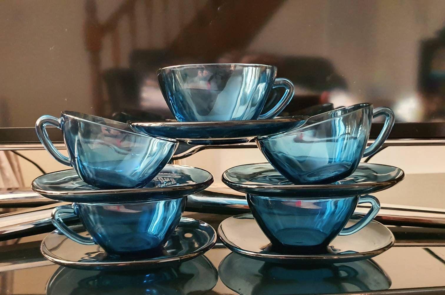 Vintage Blue Glass Tea Cup Set Vereco France Tea Cups Blue Glass Coffee Espresso Cups Saucers 60 S Glass Te In 2020 Glass Tea Cups Tea Cup Set Bone China Tea Cups