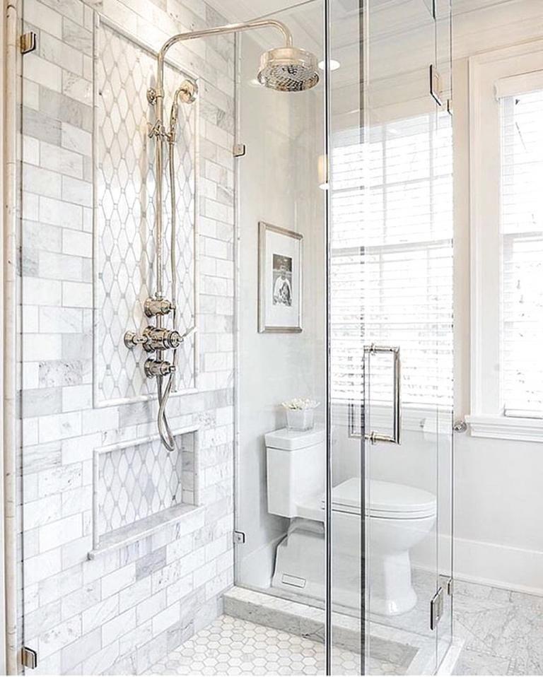35+ Popular Farmhouse Shower Tile Ideas   White bathroom ...