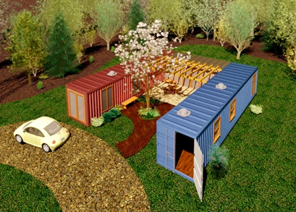 A simple design for a two container home with a courtyard - Shipping container homes designs ...