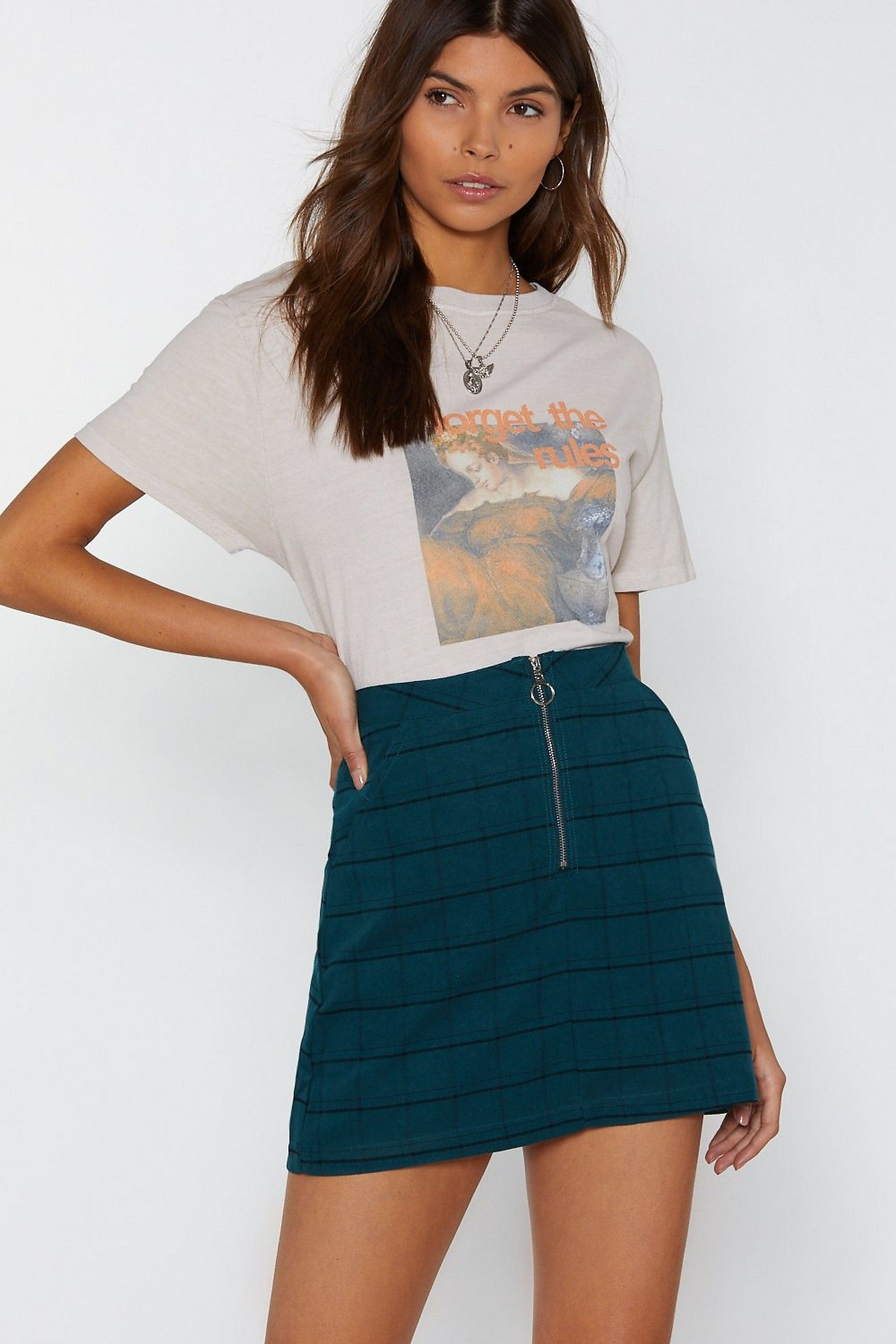 e572415f05bf Zip Up This Look Check Mini Skirt in 2019 | clothing inspiration ...