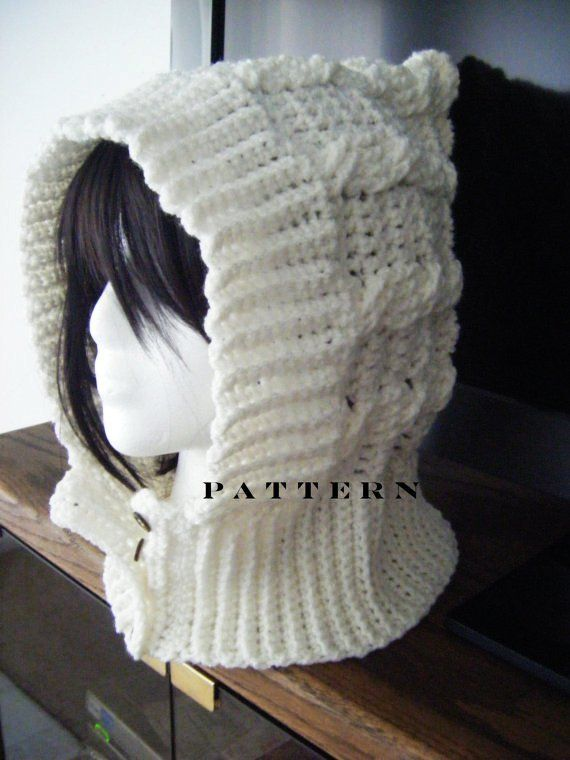 Instant Download Cables Crochet Hood Or Scoodie Hat Scarf Pattern