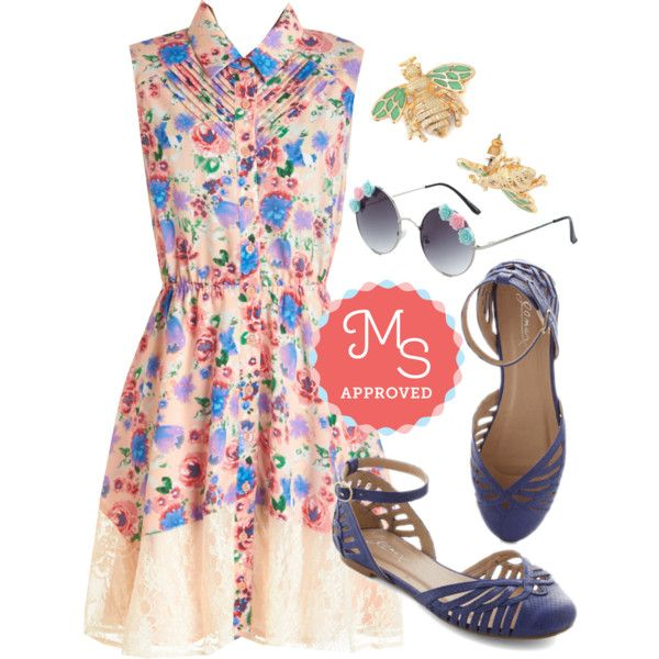 In this outfit; Petit Four the Best Dress, All Abuzz Earring, Rhyme So Fancy Sunglasses, Jaunt of Joy Flat #retrosunglasses #quirky #floraldresses
